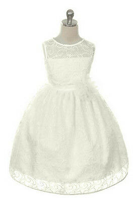 New Flower Girls Ivory Lace Dress Size 6 Pageant Party Wedding Christmas Easter