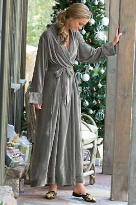 Soft Surroundings Womens Silk Velvet Robe Medium M Gray Wrap Lounge Crushed Wow