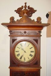 Antique German tall case grandfather clock--19th century------15408