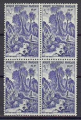 French Equatorial Africa 1946 Sc# 169 Jungle scene 50c block 4 MNH