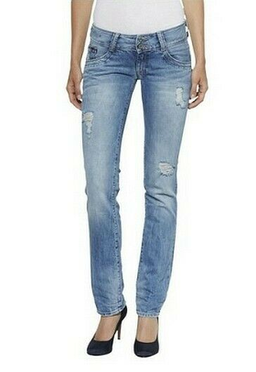 Tommy Hilfiger Denim Viola Low Rise Straight Jeans Damen Hose Blue Destroyed L30