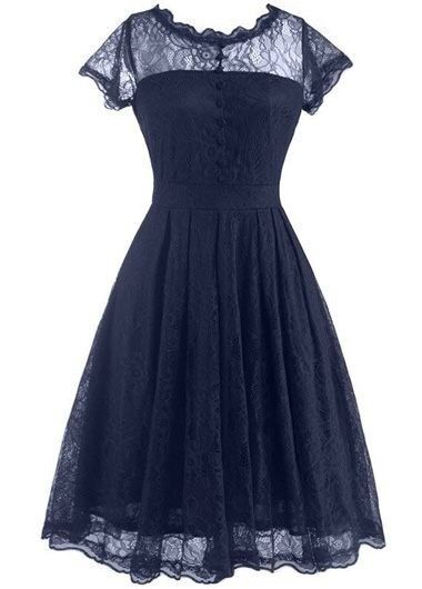 93a0e15c1f25 New open back cap sleeve lace skater dress, navy, XL | in Warwick ...