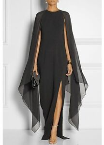 New-Cape Sleeve Front Slit Solid Black Maxi Dress