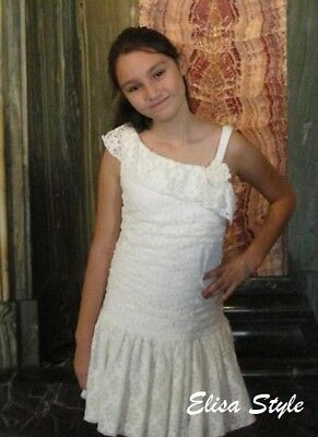 Beautiful Easter IZ Byer Party Girls Dress Lace Cream Color in size 12   - Girls Easter Dresses Size 12