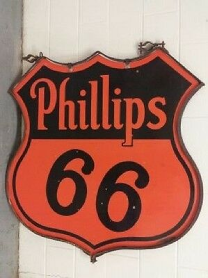 Super Clean  Original Ring Double Sided 48  Phillips 66 Oil Gas Porcelain Sign