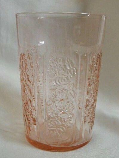 """Federal Sharon Pink Flat 4"""" Thin Water Tumbler - Depression Era -Cabbage Rose"""