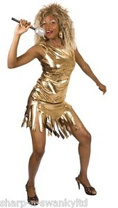 Ladies Pop Star Famous Celebrity Tina Turner 1980s Fancy Dress Costume Outfit
