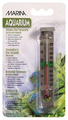Hagen Marina Stainless Steel Thermometer  Fish Aquarium Celsius   Fahrenheit