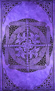Celtic Dragonfly Dragonflies Purple Batik HIPPIE Wall Hanging TAPESTRY Bedspread