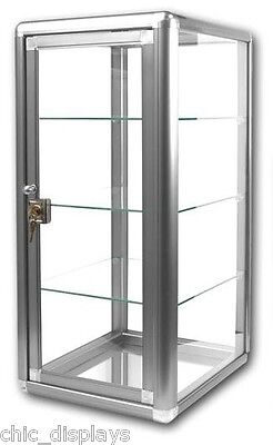 Photo Glass Display Case with Key Silver Countertop Case Showcase Fixture Boutique