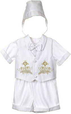 Baby Boy Christening Baptism Outfit Suit Set Sizes 01234 (0-24month)