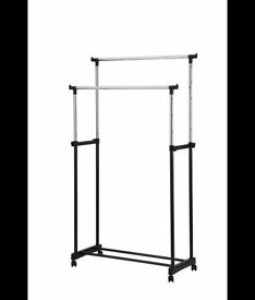 2 x Black and Silver Double Clothes Rails
