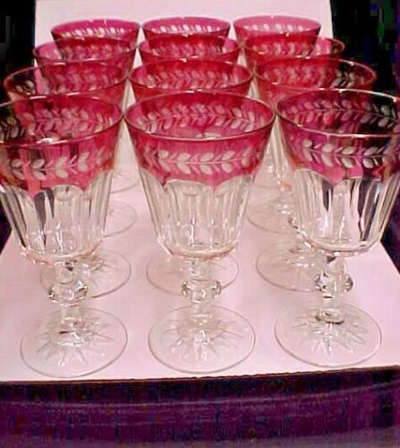 "12 Bohemian Ajka HILAERIA CRANBERRY RED Laurel 8oz Wine Goblets 6 1/4"" ~EXCELLNT"