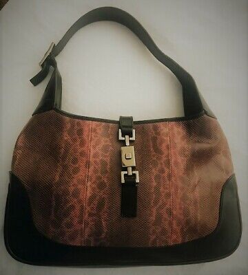 Gucci Snakeskin, Leather Trim Jackie o  hobo handbag