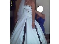 White wedding dress with black detailing