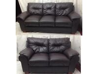 Brown leather 3/2 seater sofas good condition