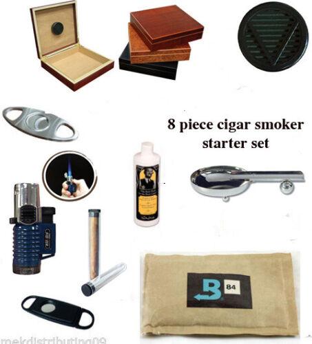 9 Piece cigar humidor beginners Starter set/Kit Ashtray cutter lighter Season