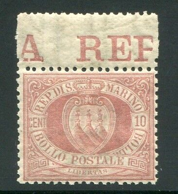 1894/9 San Marino 10 cent. rosso bruno nuovo centrato integro spl MNH  ** bordo