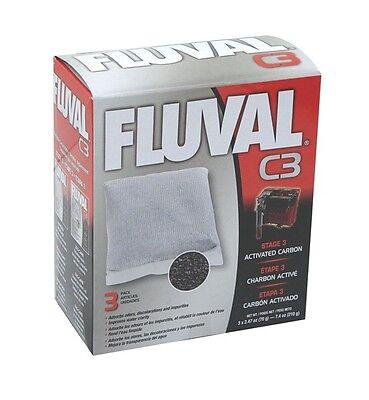 3-Pack Fluval C3 Filter Activated Carbon Stage 3 Aquarium Media Refill 7.4 oz