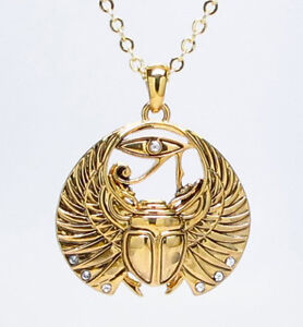 GOLDEN-WINGED-SCARABS-ANCIENT-EGYPTIAN-NECKLACE-ALLOY-PENDANT-ACCESSORY-JEWELRY