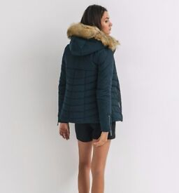New ladies quilted hooded padded fur jacket from Promod, Size S/10UK