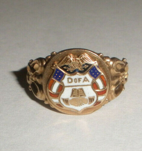 Rare Antique 10k gold Daughters Of America enamel ring size 6