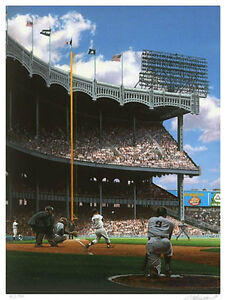 Mickey Mantle and Roger Maris Bill Purdom yankee stadium signed Litho  Yankees