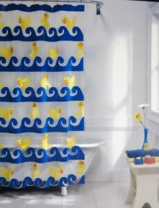 Vinyl Mon Tex Swimming Duck Rubber Ducky Shower Curtain Ebay