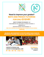 EFFECTIVE FRENCH AND MATH TUTORING FOR ONLY $15/hr! 416-875-3270