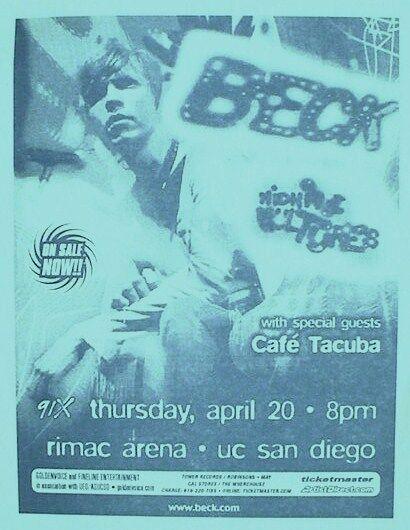 "BECK / CAFE TACUBA 2000 ""MIDNIGHT VULTURES TOUR"" SAN DIEGO CONCERT POSTER"