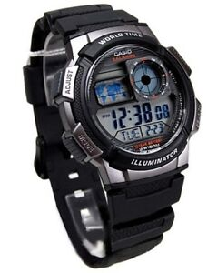 Casio-Digital-World-time-Black-Resin-Sport-Teens-Men-Watch-AE-1000W-1B-Ae1000W