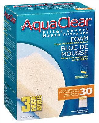 Used, Hagen AQUACLEAR 30 FOAM FILTER INSERT Aquarium Fish 3 Pak for sale  Marblehead