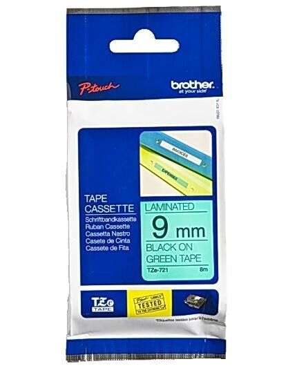 Brother P-touch TZe-721 (9mm x 8m) Black On Green Gloss Laminated Labelling Tape