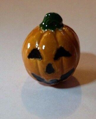 Peruvian Ceramic Orange Pumpkin Face Pendant Focal Bead DIY Charm (Pumpkin Crafts)