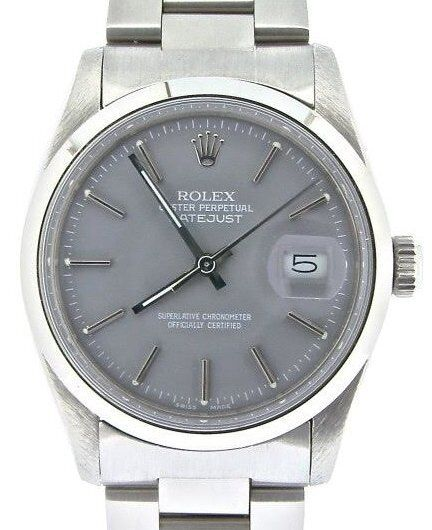 Mens Rolex Datejust Stainless Steel Watch Oyster Domed Bezel Gray Dial 16030