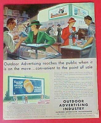 1930s Original vintage Billboard Maxwell House coffee Kelloggs Sunkist Print Ad
