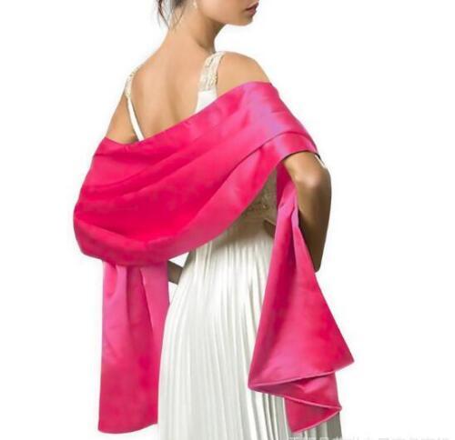 Gold Soft  Satin Shawl Wrap Stole Pashmina With  Flower Clip Wedding Prom