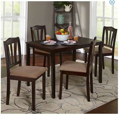 سفرة جديد Dining Set 5-Piece Breakfast Furniture Wood  4 Chairs and Table Kitchen Dinette