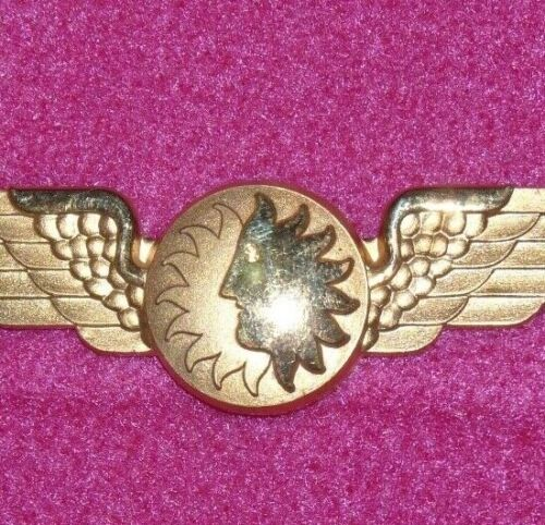 Vintage NAL National Airlines Co-Pilot Sun Face Wings Badge Rare NOS
