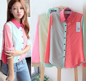 Womens-OL-Block-Color-Chiffon-Lapel-Long-Sleeve-Button-Down-Shirt-Blouse-Tops-L