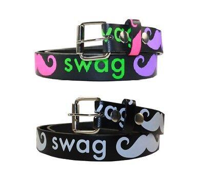 Childrens Kids Printed SWAG MUSTACHE Belt w/ Removable Buckle ](Kids Mustache)