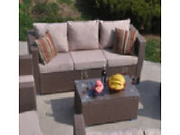new garden ratan sofa and glass table (gray cushions)