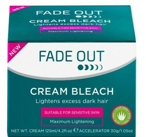 Fade Out Bleach Cream Whitening Dark Hair 125ml Aloe Vera Face Body Genuine New