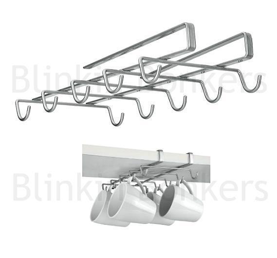 Mug Shelf Kitchen: Under Shelf Mug Holder Kitchen Cup Rack Storage Metaltex