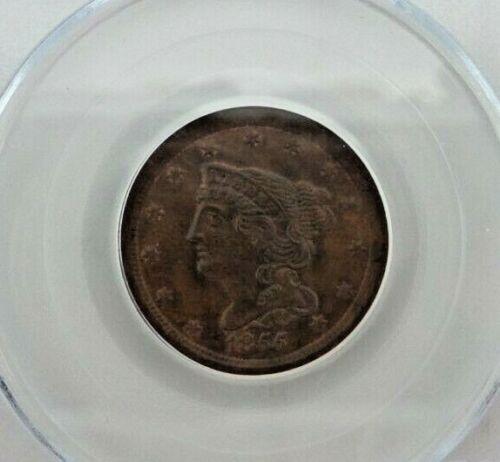 1855-P Braided Hair Half Cent 1/2C PCGS MS 63 BN BROWN V13