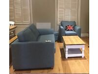 Blue Couch Set in Excellent Condition