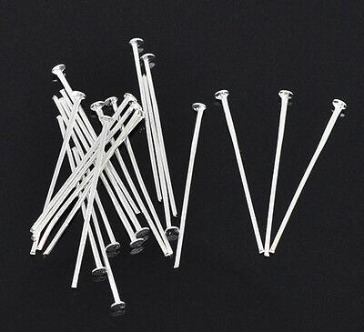 100 Head Pins 30mm x 0.7mm Silver Plated 21 Gauge Jewellry Findings J01533