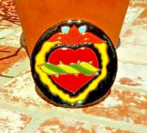 FLAMING HEART WITH THORNS  4 1/2 INS ROUND RED CLAY COASTER MEXICO FREE SHIPPING