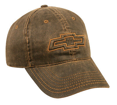 NEW. GM Chevy Bowtie, Chevrolet, Truck, Dark Brown Weathered, Cap Hat, NEW STYLE