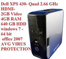 Dell XPS 430/HDMI-2GB Video-Quad 2.66 GHz/4GB RAM/640 GB HDD St Marys Penrith Area Preview
